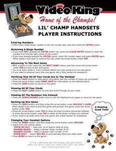 Electronic Bingo Machines Instructions for lil champ
