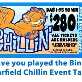 played the bingo garfield chillin event tab