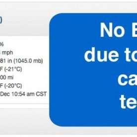 no bingo tonight due to low temperatures