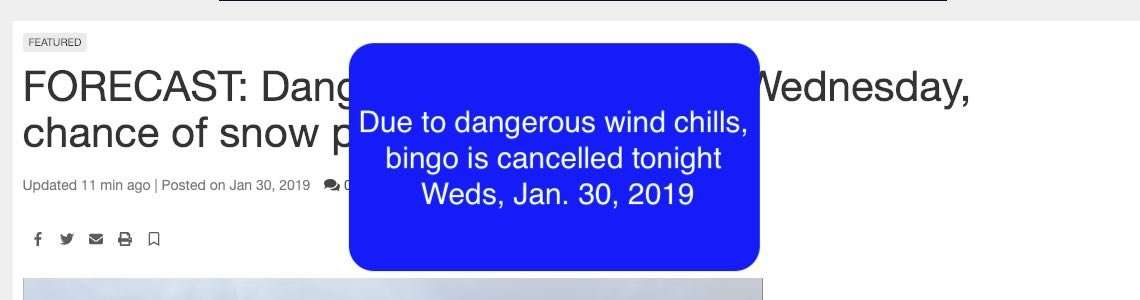 Wednesday Night Bingo cancelled Jan 30, 2019
