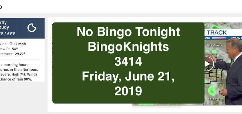 No Bingo Friday, June 21, 2019