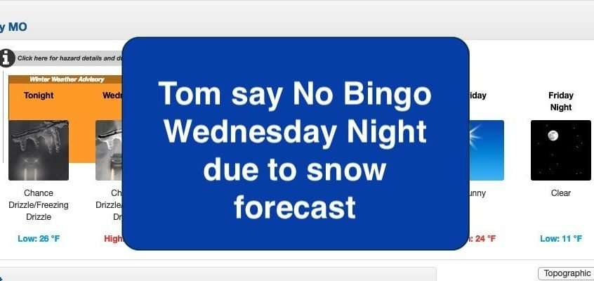 Bingo Cancelled Jan 22nd, 2020 due to Winter Storm