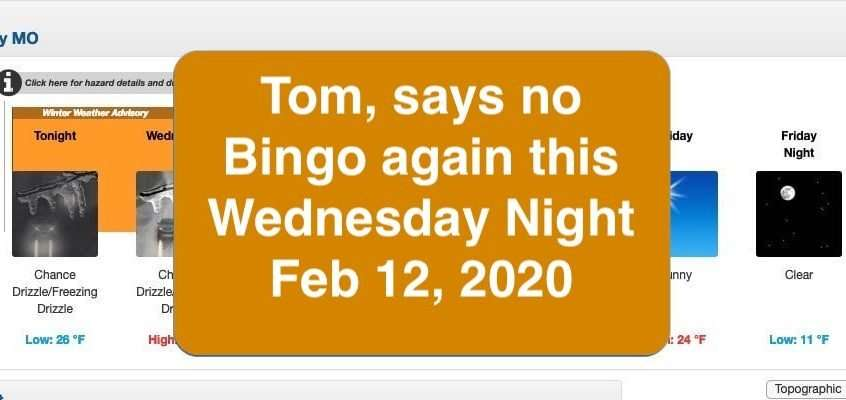 Bingo Cancelled Feb 12, 2020
