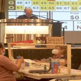 View of tom from center tables at Weds Night Bingo - See our bingo reopening July 22, 2020 photos