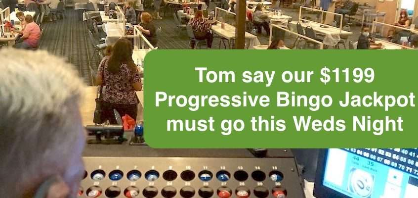 Progressive Bingo Jackpot must go this Wednesday Night