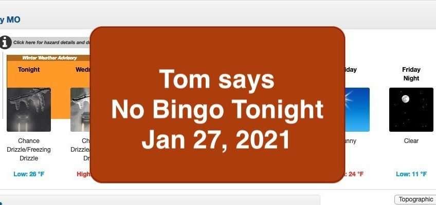 no bingo jan 27, 2021