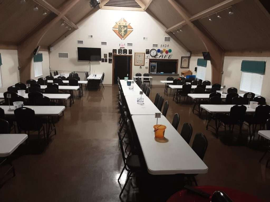 Play bingo at our temporary location june 2, 2021 - inside picture from front to back of knights of columbus 7064