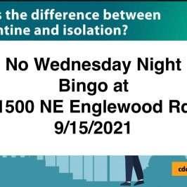 No Bingo Wednesday Night September 15, 2021
